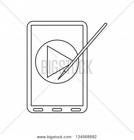 Digital tablet with a stylus and media player icon in outline style on a white background