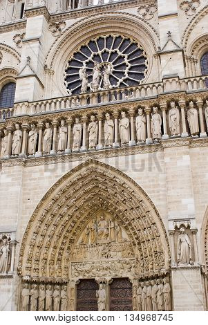 Facade Of Notre-dame Cathedral, Paris