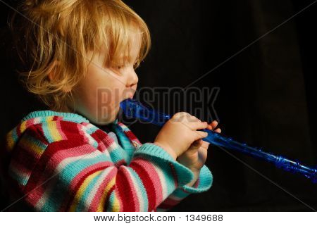 Blond Girl With Blue Flute