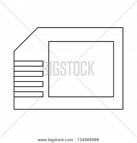 Micro sd card icon in outline style on a white background