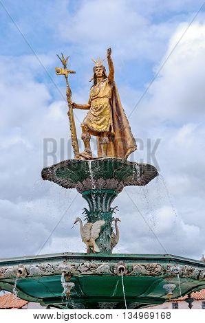 Inca fountain in the Plaza de Armas of Cusco Peru