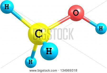 Methanol is the simplest alcohol and is a light volatile colorless liquid with a distinctive odor very similar to that of ethanol. 3d illustration