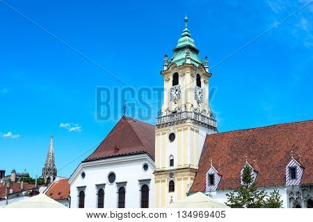 Bratislava city - view of Old Town Hall from Main Square in Bratislava