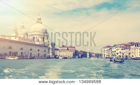 Wide view of grand canal in beautiful Venice Italy