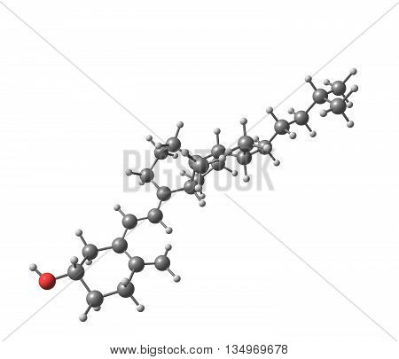 Cholecalciferol - vitamin D - is a fat-soluble secosteroid responsible for enhancing intestinal absorption of calcium iron magnesium phosphate and zinc. 3d illustration
