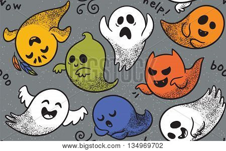 Cute spooky ghosts on dark blue background. Seamless vector Halloween pattern with ghosts child drawing style. Ghosts with Different Expressions