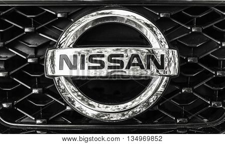 Nissan Car Logo On A Front Radiator Grille