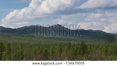 Mountain range in South Yakutia Russia in good weather