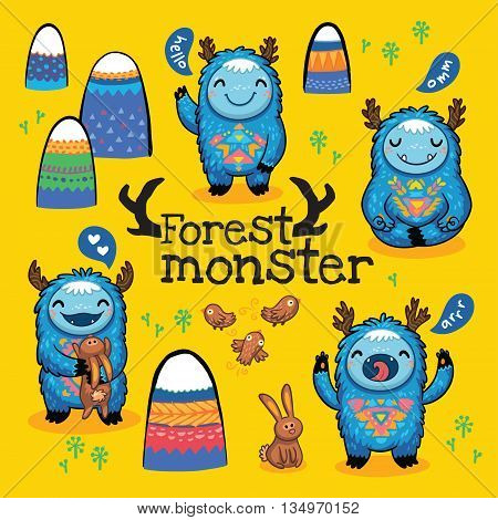 Fun cute monsters for kids design colorful collection with mountains, birds and hares. Bright imaginary characters design elements set isolated on yellow background