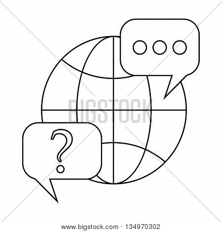 Globe and speech bubbles with question and exclamation marks icon in outline style on a white background