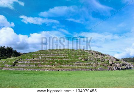 Sacsayhuaman Inca ruins in Cusco Peru, South America