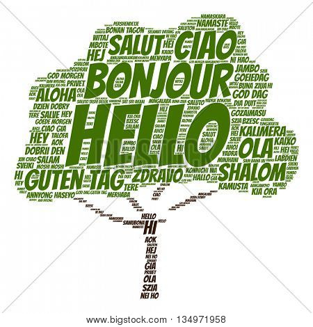Concept or conceptual abstract tree hello or greeting international word cloud in different languages or multilingual