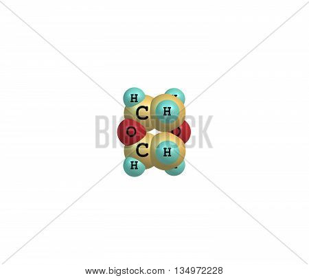 14-Dioxane - dioxane - is a heterocyclic organic compound. It is a colorless liquid with a faint sweet odor similar to that of diethyl ether. 3d illustration