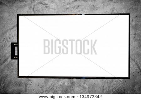 LED TV on concrete wall, with copy space on screen