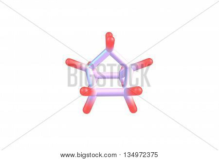 A bicyclic molecule with two fused rings. 3d illustration