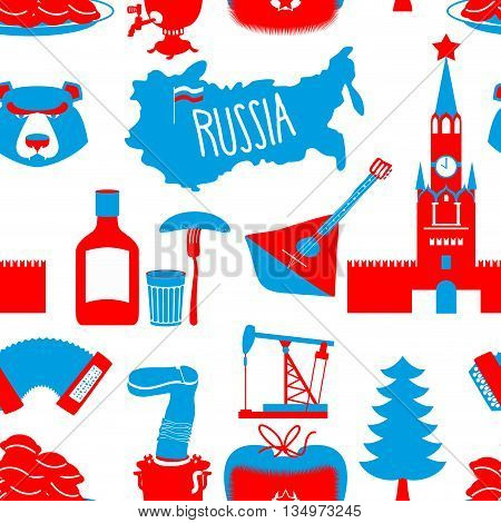 Russian symbols seamless pattern. Russia national ornament. State traditional background. Moscow Kremlin and bear. Map of Russia and samovar. Earflaps and balalaika. Dumplings and vodka. dumplings and Oil pump