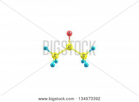 Acetone or propanone is the organic compound. It is a colorless mobile flammable liquid and is the simplest ketone. 3d illustration