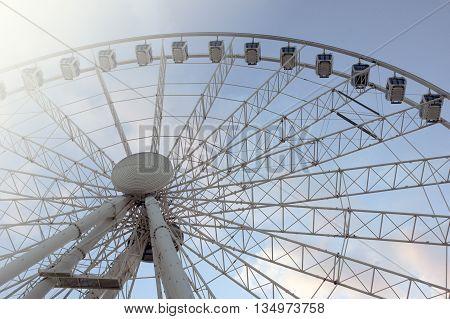 Temporary ferris wheel in Deák tér in Budapest, Hungary
