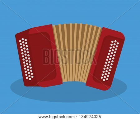 Music instrument concept represented by accordion icon over flat and blue background