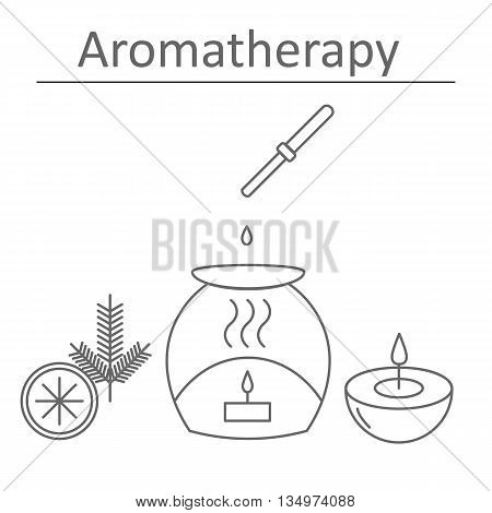 Aromatherapy. Citrus and pine scents. The poster or a banner for aromatherapy. Vector illustration.