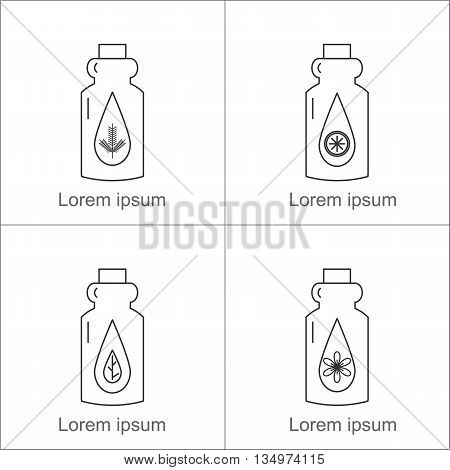 Bottles with essential oils: pine citrus floral herbaceous. Vector illustration.