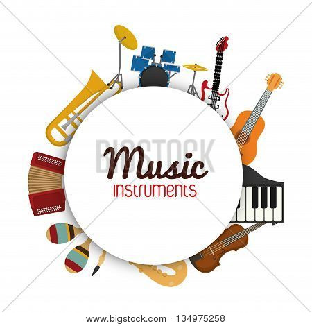 Music instrument concept represented by icon set in circle  over flat and isolated background