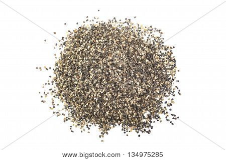 A bunch of gravel on a white background