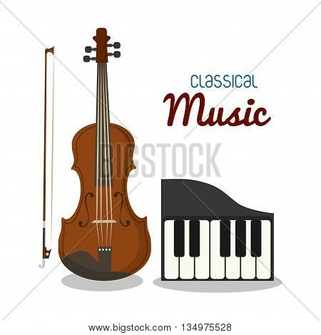 Music instrument concept represented by cello and piano icon over flat and isolated background