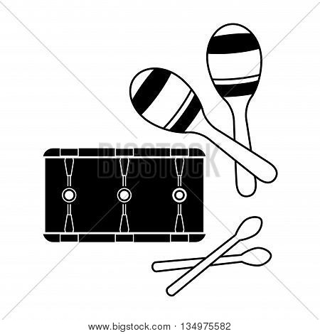 Music instrument concept represented by maraca and drum icon over flat and isolated background