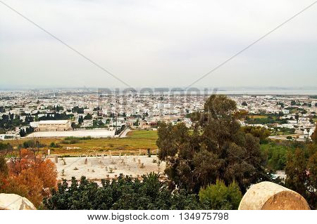 The view from Saint Louis Cathedral of Carthage ruins and the city Cartage, Tunisia