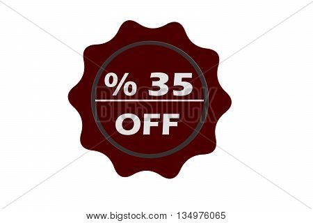 stamp 35 percent off with red text over white background.red seal.seal.