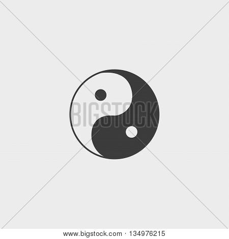 Yin Yang icon in a flat design in black color. Vector illustration eps10
