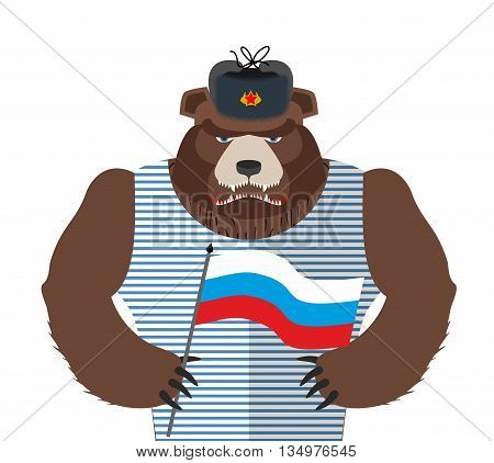 Angry Russian Bear Holding Russian Flag. Beast Patriot In Fur Hat And Vest. Wild Animal In Clothes O