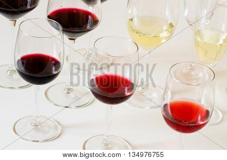 Wine red and white tasting on the table