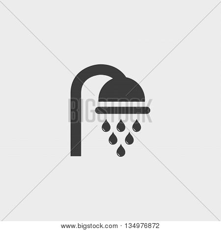 Shower icon in a flat design in black color. Vector illustration eps10