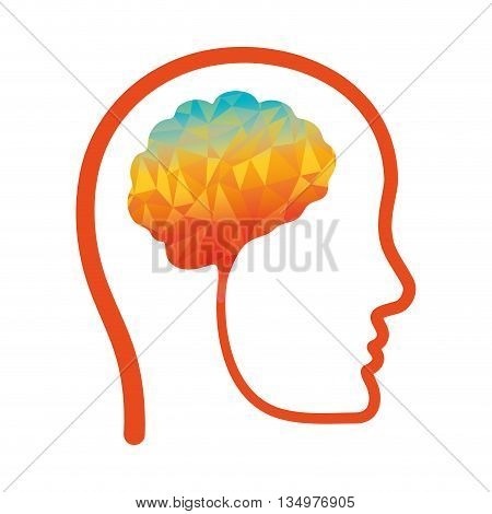 Human organ concept represented by brain and human head icon over flat and isolated background