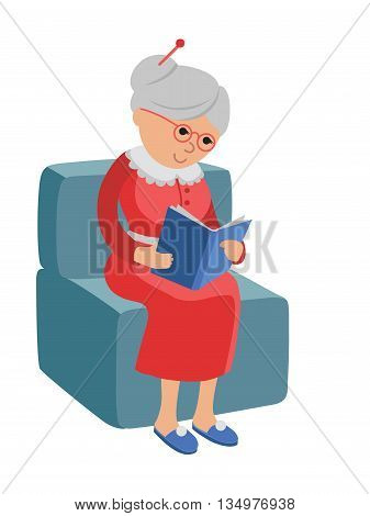 Illustration featuring an elderly woman reading a book. Vector illustration in flat style about the hobby of the elderly. Pensioner sitting in a chair at home reading a book.