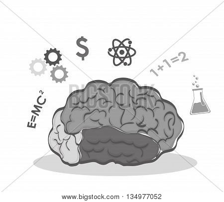 Human organ concept represented by brain and science  icon over flat and isolated background