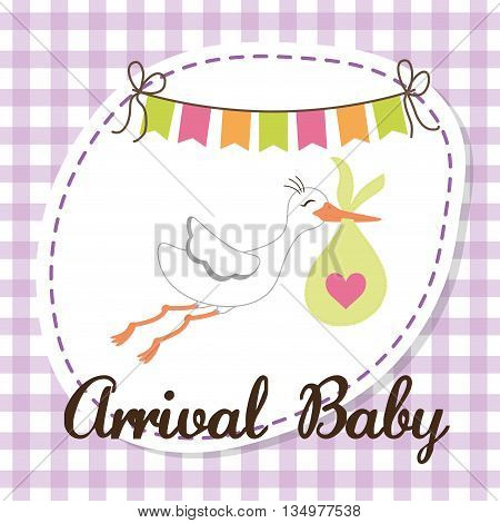 Baby shower concept represented by stork icon over flat and pastel background