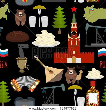Russian Symbols Seamless Pattern. Russia National Ornament. State Traditional Background. Moscow Kre
