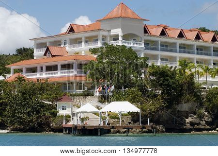 Waterfront ocean view resort on the coast of the Atlantic Ocean in the north-eastern part of the Dominican Republic Samana