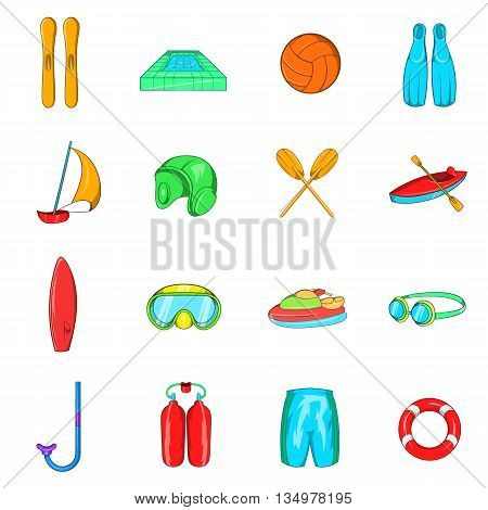 Water Sport Icons set in cartoon style isolated on white background