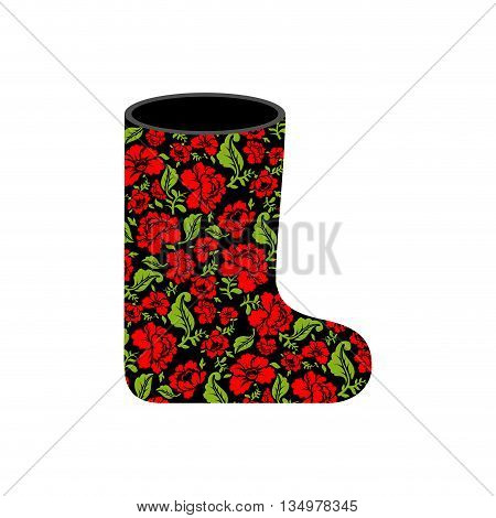 Valenki - Russian Traditional Winter Boots. National Shoe From Felt. Warm Accessory With Floral Text