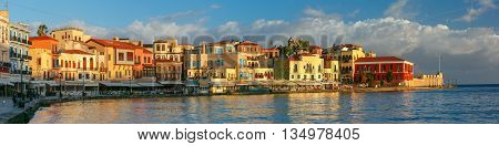 Picturesque panoramic view of old harbour, Firkas Fortress and Venetian quay of Chania in the morning, Crete, Greece