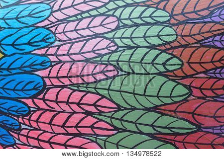 beautiful colorful abstract of feather wall background