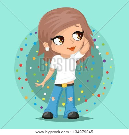 Stylish Modern Trendy Fashionable Girl Character Icon Stylish Background Cartoon Poster Design Template Vector Illustration