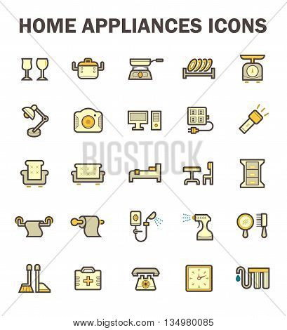 Home appliance vector icon set isolated on white backgrund.