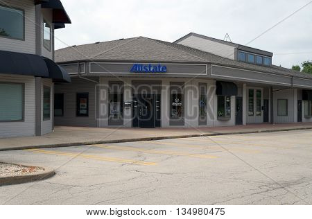 SHOREWOOD, ILLINOIS / UNITED STATES - AUGUST 30, 2015: Allstate offers insurance in the Park Place Plaza in Shorewood.