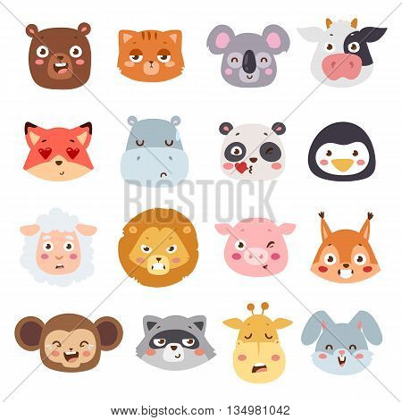Cute animal heads with emotions vector set. Animal characters little collection.