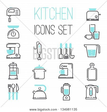 Kitchen and cooking icons white. whisk, mix until. Coffee and tea preparation.